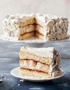 Tort makowo-bezowy z kremem kawowym