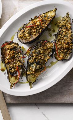 Simple to make and ready in 30 minutes, these chilli-roasted aubergines make a brilliant veggie option for Easter lunch.