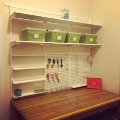 """Look what finally got installed! My #Elfa shelving unit for the craft room. Can't wait to fill it up. Busy weekend ahead!"""