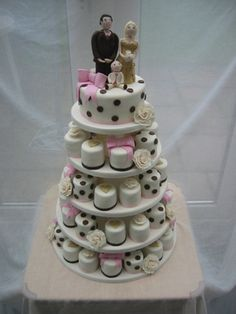 This is kind of neat for a cupcake tree. All the cupcakes are covered like mini cakes, so the overall appearance looks like a tiered wedding cake!