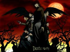Death Note  (Judging from the wings, Ryuk's in the back somewhere, trying to get a glimpse over everyone else's heads.)