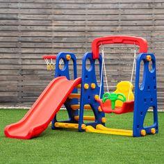 Goplus 3 in 1 Junior Children Climber Slide Swing Seat Basketball Hoop Playset Backyard Baby Slide, Toddler Slide, Swing Sets For Kids, Kids Swing, Baby Swing Set, Toddler Outdoor Playset, Cama Design, Baby Toys, Kids Toys