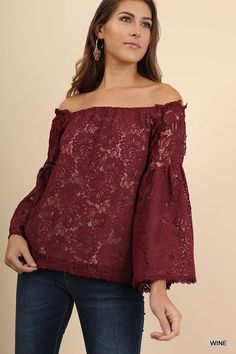 Off Shoulder Lace Top with Bell Sleeves