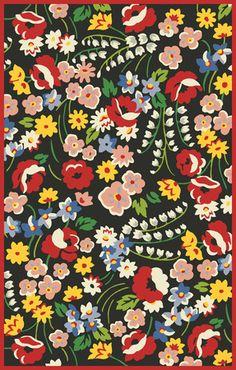Marcella Vera Bradley Signature VBY072A Poppy Fields Black/Multi Closeout Area Rug