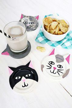 Purr-fect! Kitty coaster DIY #party #deco #fiesta