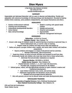 resume for babysitter babysitter resume is going to help anyone who is interested in becoming a - Babysitting Resume