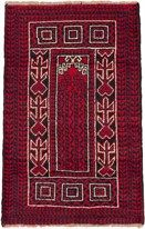 "Baluch rugs are woven by the nomadic Baluchi ethnic groups of western Afghanistan. They weave very geometric and intricate designs, borrowing largely from Turkoman tribal influences especially in the use of the """"gul"""" or elephant foot motif. - Field Color: Red - Border Color: Cream, Dark Navy, Red"