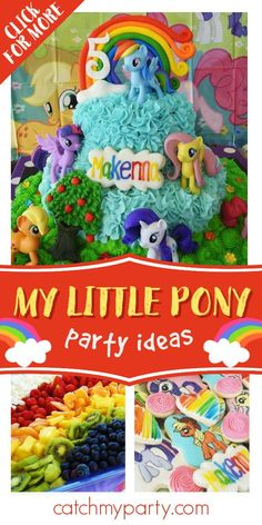 Check out this fun My Little Pony birthday party! The cake is so cool! See more party ideas and share yours at CatchMyParty.com #catchmyparty #partyideas #mylittlepony #girlbirthdayparty #mylittleponyparty My Little Pony Cake, My Little Pony Birthday Party, Girls Birthday Party Themes, Unicorn Birthday Parties, Girl Birthday, Party Activities, Party Ideas, Check, Fun