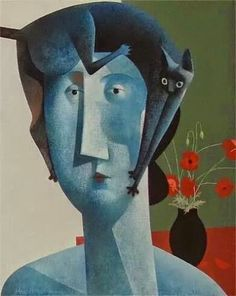 Peter Harskamp Dutch) depicts cats almost always with a woman or man. His human figures are geometric, strong, heavy and two dimensional, while the cats are more refined, thin and lithe. Action Painting, Art And Illustration, She And Her Cat, Son Chat, Cat Drawing, Dog Art, Crazy Cats, Kitsch, Les Oeuvres