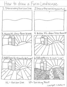 How to draw a Pattern Farm Landscape - Kunstunterricht Art Sub Plans, Art Lesson Plans, Art 2nd Grade, Documents D'art, Landscape Art Lessons, Art Handouts, Perspective Art, One Point Perspective, Art Worksheets
