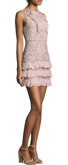"""zahara combo lace mini dress by Parker. Finished with ruffled details at front and skirt. Crewneck. Sleeveless. Exposed back zip. Lined. About 35"""" from shoul..."""
