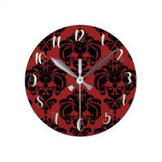 Dark Red & Black Damask Modern Personalized Round Clock - red gifts color style cyo diy personalize unique