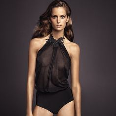 La Perla campaign star Izabel Goulart wears the Ninfea bodysuit with laser-cut embroidery and low cut back. Izabel Goulart, Luxury Lingerie, Sexy Lingerie, Gq, High Neck Bodysuit, Brazilian Models, Fashion Painting, Poses, Dress For Success