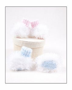 Pdf Knitting Pattern for fluffy booties by by AngelaTurnerDesigns