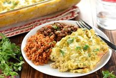 Salsa verde, green chiles, and a creamy homemade sauce make this stacked Chicken Enchilada Casserole as delicious as the original without all the work! Mexican Dishes, Mexican Food Recipes, Real Food Recipes, Chicken Recipes, Dinner Recipes, Cooking Recipes, Ethnic Recipes, Meal Recipes, Recipies