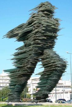 """Street Art - Glass Sculpture - in Athens The statue called """"The Runner."""" It is made of glass by the sculptor Costas Varotsos. Art Sculpture, Sculptures, Instalation Art, Athens Greece, Public Art, Belle Photo, Oeuvre D'art, Amazing Art, Awesome"""