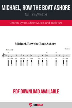 Free tin whistle sheet music for Michael Row the Boat Ashore with chord symbols, lyrics, and tablature. Row Row Your Boat, Row Row Row, The Row, Harmonica Lessons, Music Lessons, Piano Songs For Beginners, Bagpipe Music, Irish Flute, Tin Whistle
