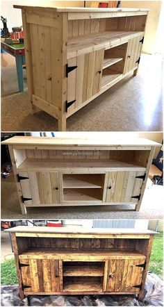 Reshaped wood pallets tv stand pallet furniture in 2019 дере Diy Pallet Furniture, Woodworking Furniture, Furniture Projects, Woodworking Projects, Wood Furniture, Furniture Cleaning, Furniture Repair, Woodworking Techniques, Furniture Online