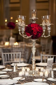 centerpiece , reception , tablescape , ballroom wedding , Traditional Red and Black Atlanta Red Wedding Decorations, Wedding Themes, Table Decorations, Wedding Ideas, Wedding Fun, Autumn Wedding, Wedding Stuff, Red Centerpieces, Candelabra Centerpiece