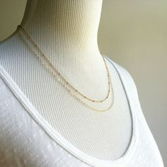 Maluhia necklace - double layered sterling silver chain necklace, delicate necklace, satellite chain, 2 chain necklace, maui, hawaii. $42.00, via Etsy.