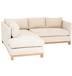 Linen sectional-clean lines and wooden legs are contemporary. Neutral upholstery allows accent pillows to get attention. A darker wood frame would be better.