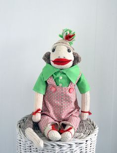 Sammy Spring - a spring in his step and spring in his heart. One of a kind heirloom sock monkey by Peng Peng. Shop www.peng-peng.com