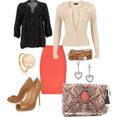 Coral Pencil Skirt, created by dustine-fisher on Polyvore... I can do this coral pencil skirt and beige floral cardigan