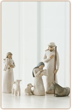 Nativity...Behold the awe and wonder of the Christmas Story...As enduring as the story it portrays, the six-piece Nativity is as loved today as when it was originally introduced in 2000. Its simplicity and form has made it a timeless classic. As a Christmas gift, wedding gift or self-purchase, the Willow Tree Nativity continues on as a family tradition. (HAVE)