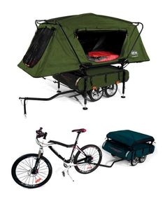 Innovative bicycle camper trailer .. I got to have this