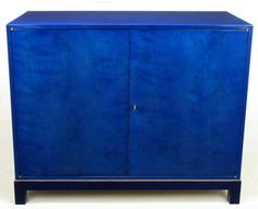Stunning Pair of 1940s Baker Sideboard Cabinets in Transparent Lapis Blue 2