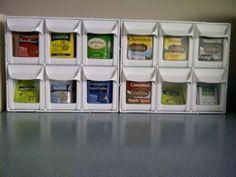 DIY Kitchen Organization: Tea Bag Display #organizing #kitchen #tea #teabags