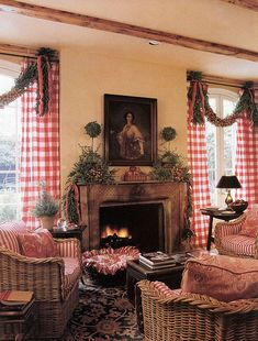 Home for the Holidays - keeping room-Carol Glasser Red Buffalo check curtains just for Christmas time Cottage Christmas, Primitive Christmas, Country Christmas, All Things Christmas, Christmas Home, Christmas Windows, Merry Christmas, Christmas Mantels, Christmas Decorations