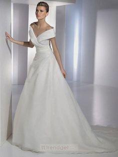 Amazing Ball Gown Off-the-shoulder Floor-length Organza White Wedding Dresses - $188.99 - Trendget.com