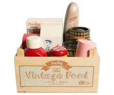 Vintage Food in Grocery Wooden Box - Maileg USA -The Magical World of Maileg