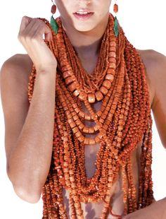 Sabrina Orafa Coral Jewelry, Ethnic Jewelry, Beaded Jewelry, Beaded Necklace, Necklaces, Boho Fashion, Fashion Outfits, Womens Fashion, Maxi Collar