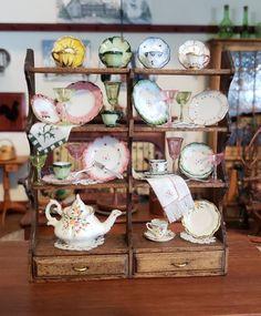 DOLLHOUSE MINIATURE ARTISAN WALL SHELVES HAND PAINTED PLATES TEA DISPLAY