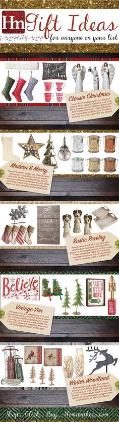 Homemakers' Gift Guide has something for everyone on your list: gifts for men, gift ideas for women, even home goods and treats for you! #giftguide #infographic #christmas #holidays #thanksgiving #merrychristmas #happyholidays #gifts #presents #homedecor