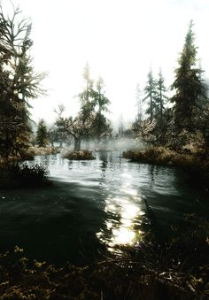 Misty waters water outdoors nature trees animated mist gif stream