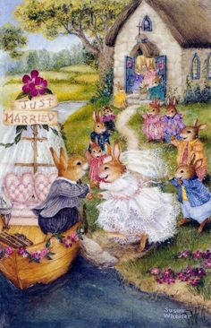 I absolutely adore Susan Wheeler! Her warmhearted watercolors of the furry inhabitants of Holly Pond Hill are truly inspiring. Susan Wheeler, Bunny Art, Cute Bunny, Beatrix Potter, Lapin Art, Motifs Animal, Rabbit Art, Woodland Creatures, Whimsical Art