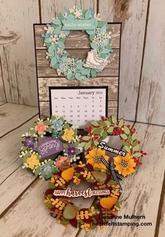 A Year of Wreaths - Heartfelt Stamping Stampin Pretty, Paper Crafts, Diy Crafts, 3d Paper, Creative Crafts, Hello Winter, Valentine Wreath, Stamping Up, Holiday Wreaths