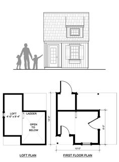 This adorable traditional children's playhouse has a kid size door on the front and an adult size door on the side. There's even a porch and storage room on the back. Kids Playhouse Plans, Childrens Playhouse, Play Spaces, Loft Spaces, Play Houses, Summer Fun, Tiny House, Modern Design, Floor Plans
