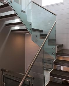 Steel+wood+glass+stainless steel = another turnkey project complete by Skyhook craftsman Glass Stairs, Glass Railing, Floating Stairs, Interior Railings, Interior Exterior, Stainless Steel Staircase, Stair Art, Glass Balcony, Steel Stairs