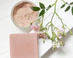 Natural Handmade Moisturising Soap Bar: Modern Rose and White Florals (The Rose Garden) with Pink Clay - Palm Oil-Free and Cruelty-Free