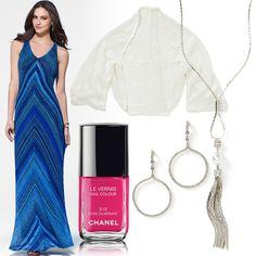 Maxi dress, shawl, earrings and necklace by Caché. Nail polish - Chanel in Rose Exuberance.
