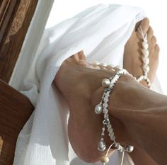 White Lady Wedding Barefoot Sandal Anklet Shiny White by M0MITA, $22.50    These would be perfect for your hippie wedding if its in a place you can wear them :D