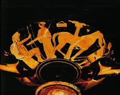 Pistoxenos Vasepainter (5th BCE) Departure of the warrior. Farewell to his wife, a servant holding his horse. Red-figured cup from Vulci, (around 470 BCE) Inv. G 108 Louvre, Departement des Antiquites Grecques/Romaines, Paris, France