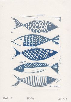 Lino print – fish motif – seaside prints – linocut print – blue fish – limited edition – lithographed – original hand drawn from print This blue fish linocut is an original hand drawn limited edition lithographed by SMITH DESIGN. Doodle Drawing, Lino Art, Stamp Carving, Linoprint, Fish Patterns, Fish Print, Fish Design, Linocut Prints, Woodblock Print