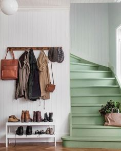 The Best 24 Painted Stairs Ideas for Your New Home Green stairs, functional entryway, coat rack and shoe table. But mostly I love those stairs!Green stairs, functional entryway, coat rack and shoe table. But mostly I love those stairs! Painted Stairs, Painted Staircases, Vestibule, Stairways, My Dream Home, Home And Living, Living Rooms, Interior Inspiration, Color Inspiration
