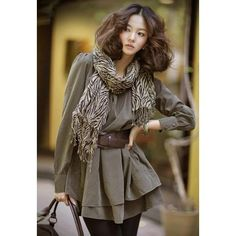 Chic Plus Size Scoop Neck Long Sleeves Women's Dress With Scarf and Belt, ARMY GREEN, XL in Long Sleeve Dresses | DressLily.com