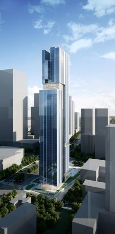 Bravo Pazhou Tower Seeks To Unite Two Programs Into A Single Composition | Aedas // Aedas designed the 100,000-square-meter Bravo Pazhou mixed-use tower, located in the western portion of Pazhou's central business district in Guangzhou, China with restaurants and a boutique hotel at the lower levels and office space at the upper floors.